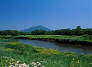 Kokai River and Mount Tsukuba, Shimotsuma, Ibraki, Japan