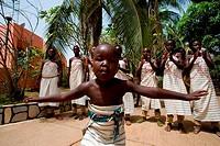 WEST AFRICA, BENIN, NATITINGOU, TRADITIONAL DANCES, CHILD DANCING