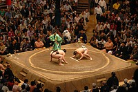 Japan, Tokyo, Grand Taikai Sumo Wrestling Tournament at Kokugikan Hall Stadium