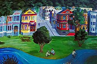USA, North America, California, San Francisco,Haight_Ashbury area ,wall oil painting
