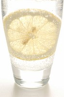 Soda water with sliced lemon