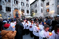 Italy, Gubbio. Holy Friday procession
