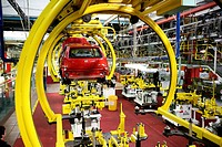 Italy, Piedmont, Turin, Mirafiori. Fiat car factory assembling plant