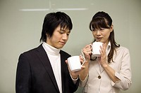 Two people having a coffee break
