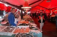 Italy, Veneto, Venice, the Rialto fish market