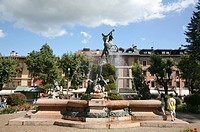 Italy, Veneto, Asiago, fountain in the town centre