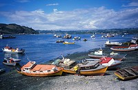Chile, boats at shore