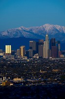 Los Angeles skyline with Mt. Baldy.