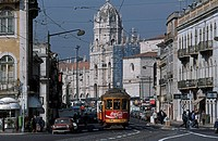 Portugal, Lisbon, electricos tram and Jeronimos Monastery on the background
