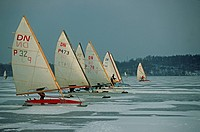 Poland, Mazury, Mragowo, land yachting on frozen lake