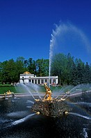 Russia, Saint Petersburg, Peterhof palace, the fountain