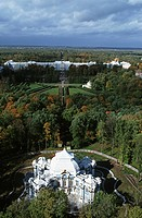 Russia St. Petersburg, Puschkin, Catherine palace, aerial view