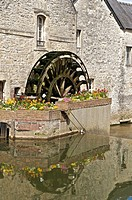 Water mill on river Aure, ancient tanners' quarter, old town of Bayeux, Calvados, Lower Normandy, France