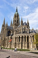 Exterior of Norman-Gothic Notre Dame cathedral (12th century), Bayeux, Calvados, Lower Normandy, France