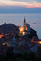 Slovenia, Piran, View from the Town Walls at Dusk.