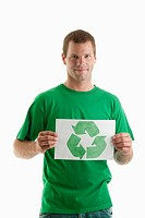 Man holding recycling symbol drawing (thumbnail)