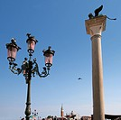 Italy,Venice. Piazza San Marco with column of the winged lion of St. Mark
