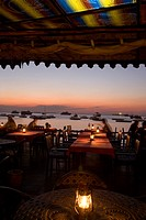 Zanzibar, Tanzania, Stone Town. Inside of Mercury´s Restaurant at Dusk