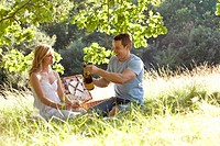 A young couple having a picnic, man opening a bottle of sparkling wine (thumbnail)