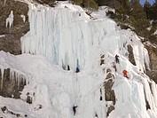 Italy, Piedmont, Moncenisio, Piana di San Nicolao, climbing ice waterfall