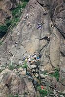 Italy, Piedmont, Montestrutto, Climbing