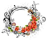 Oval Shape with flora elements