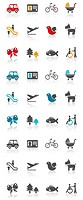 Mode of transportation set icon
