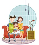 Portrait of happy family with one Child sitting on sofa