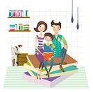 Family reading book together (thumbnail)