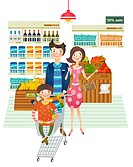 Family portrait doing shopping from supermarket (thumbnail)