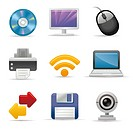 Input and output device icon set