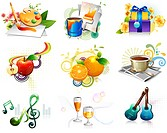 Leisure activity and refreshment icon set