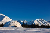 View of Igloo City, a uniquely Alaskan architectural icon located along the George Parks Highway near Broad Pass, Southcentral Alaska, Winter