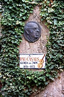 Spain. El Vedrell. Pau Casals 1876-1973 Board remembering the famous spanish musician and cellist