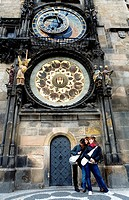Tourists  Astronomical Clock and Calendar in Old Town Councilhouse  Old Town Square Prague  Czech Republic