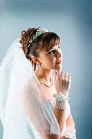 bride dressed in elegance white wedding dress