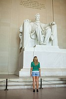 Girl looking at lincoln memorial
