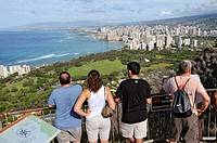 Hikers at Summit Diamond Head Crater State Monument Honolulu Hawaii Oahu