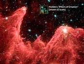 Spitzer Space Telescope false_colour image of ´mountains´ where stars are born. Dubbed ´Mountains of Creation´ the towering pillars of cool gas and du...