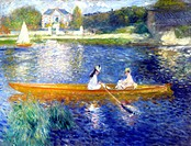 La Yole' The Skiff, 1875. Oil on canvas. Pierre_Auguste Renoir 1841_1919 French painter. Two women in a boat, probably on the Seine at Chatou, west of...