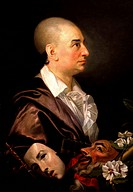 David Garrick´ 1717_1779 English actor, theatre manager and playwright. Profile portrait of Garrick bareheaded, with maks of comedy and tragedy. Johan...