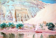 Abu Simbel´, Watercolour. Robert Talbot_Kelly 1861_1934 English orientalist landscape painter. The great limestone statues of Ramses II at the entranc...