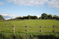 View of horse paddock with wooden fence and jumps, Bacton, Suffolk, England, october