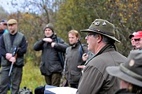 Meeting of hunters and game warden in the Ardennes, Belgium