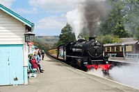 Grosmont station on the North Yorkshire Moors Railway near Whitby, North Yorkshire, England, UK