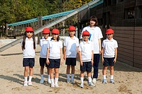 Portrait of Elementary school children and teacher, Japan