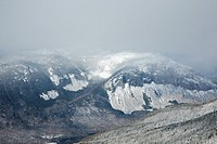 Appalachian Trail - Cannon Mountain in winter conditions from the Franconia Ridge Trail near Mount Lincoln in the White Mountains, New Hampshire USA
