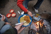 A meal cooked by a campfire in Kings National Park, CA.