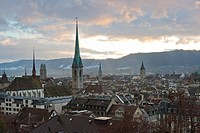 Skyline of Zurich from the University of Zurich overlook