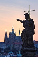 St. John the Baptist on Charles Bridge, sunset